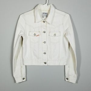 OLD NAVY Off White Distressed Denim Jacket